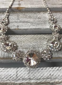 Silver Necklace with Round Rhinestones