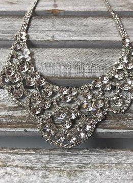 Sparkly Round Rhinestone Bib Necklace
