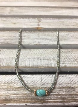 Handmade Turquoise with Iridescent Seed Beads