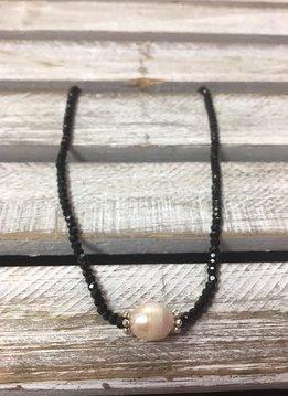 Handmade Black Crystal Choker with Freshwater Pearl