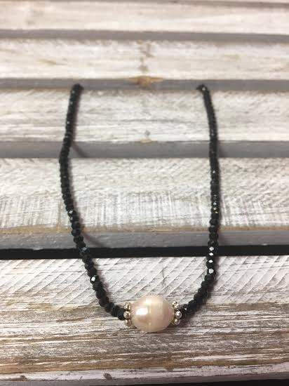 Handmade Black Crystal Choker with Freshwater Pearl