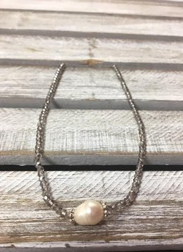 Handmade Silver Crystal Choker with Freshwater Pearl