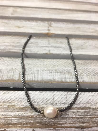 Handmade Charcoal Gray Seed Bead with Pearl Choker