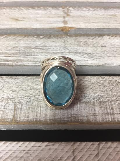 Sterling Silver Chunky Faceted Blue Topaz Ring, Size 8