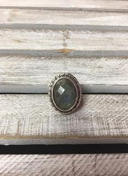Sterling Silver Chunky Faceted Labradorite Oval Ring, Size 7
