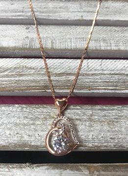 Cubic Zirconium Rose Gold Heart Pendant Necklace
