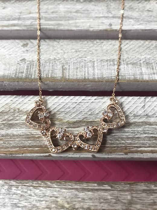 Cubic Ziconia Rose Gold Magnetic Heart Necklace
