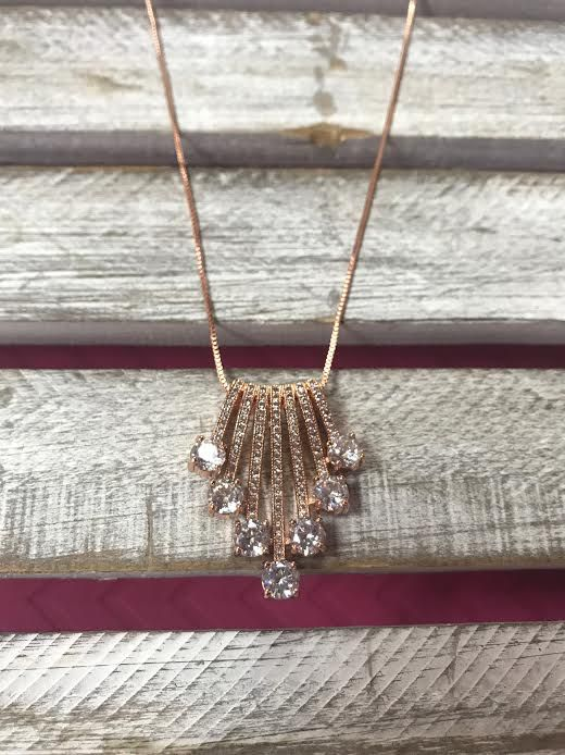 Cubic Zirconia Rose Gold Waterfall Necklace
