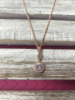 Rose Gold Cubic Zirconia Three Tier Pendant Necklace