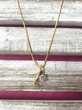 Cubic Zirconia Gold Wave Necklace