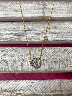 Cubic Zirconia Gold Pave Necklace