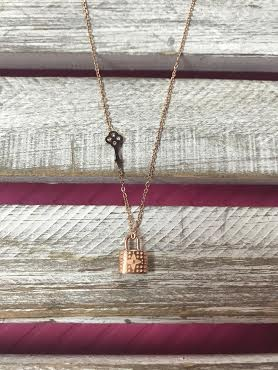 Stainless Steel Rose Gold Lock with Key Necklace