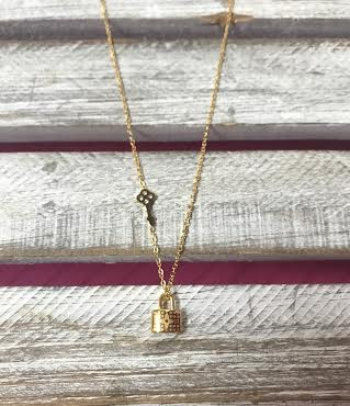 Stainless Steel Gold Lock with Key Necklace