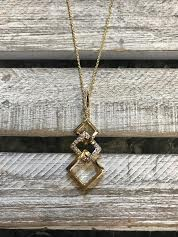 Cubic Zirconia Gold Necklace with Layered Squares Pendant