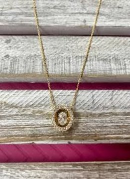Cubic Zirconia Gold Necklace with Dancing Diamond Pendant