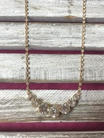 Clear Round Rhinestone and Gold Necklace