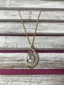 Gold Necklace with Tear Drop Rhinestone Pendant