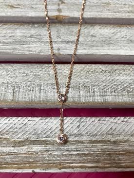 Cubic Zirconia Rose Gold Y Necklace