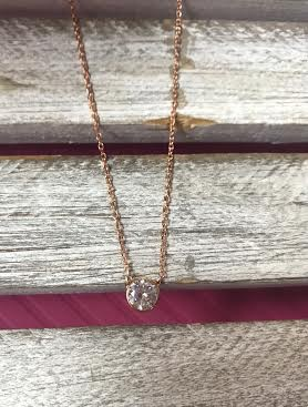 Cubic Zirconia Rose Gold Plated with Round Pendant