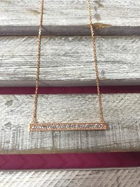 Cubic Zirconia Rose Gold Plated Bar Necklace
