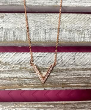 Cubic Zirconia Rose Gold Necklace with V Pendant