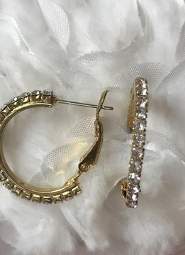 Rhinestone Gold Hoop Earrings