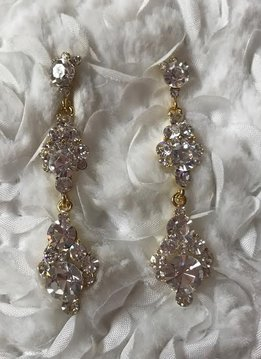 Gold Rhinestone Three Tier Dangle Earrings