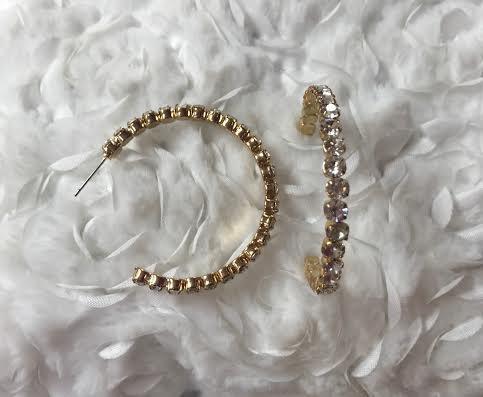 Large Gold Hoop Rhinestone Earrings