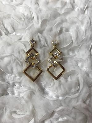 Cubic Zirconia Gold Earrings with Layered Squares