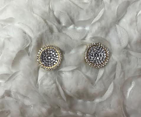Gold Stud Earrings with Cubic Zirconia Pave Circle
