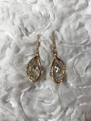 Gold Earrings with Tear Drop Rhinestones