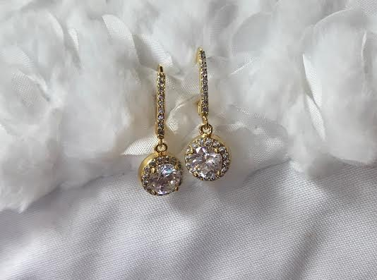 Gold Dangle Earrings with Round Cubic Zirconia