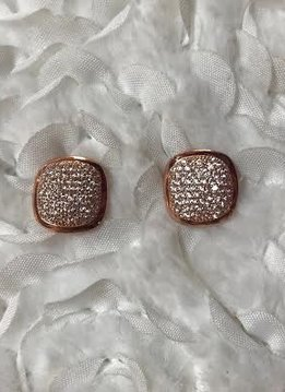 Rose Gold Square CZ Sterling Micro Pave Stud Earrings