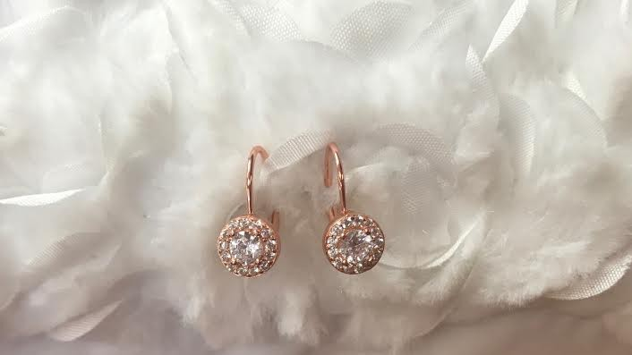 Rose Gold Plated Earrings with Round Cubic Zirconia Stone