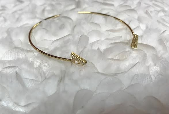 Gold Plated Triangle Bangle with Cubic Zirconia