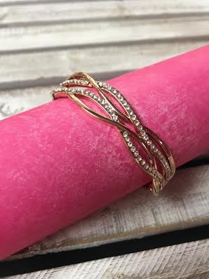 Rose Gold CZ Wave Bracelet
