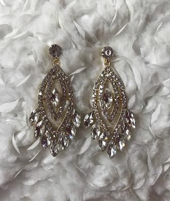 Gold Marquise Rhinestone Chandelier Earring