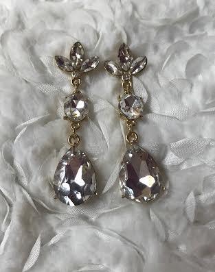 Gold Mixed Shape Rhinestone Dangle Earrings