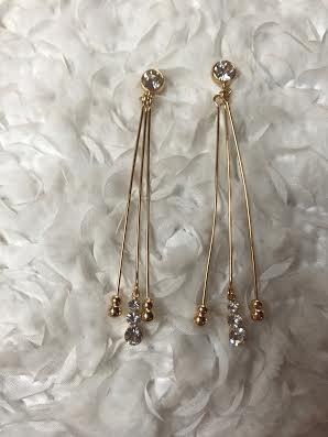 Gold Rhinestone Three Bar Dangle Earring