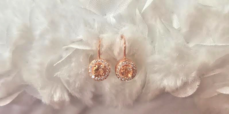 Rose Gold Plated Earrings with Round Morganite Diamond