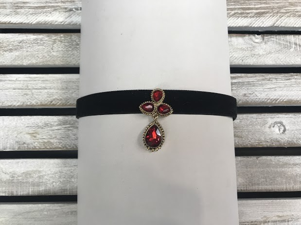 Black Velvet Choker with a Red Crystal Pendant