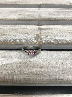 Stainless Steel Ring with Pink Cubic Zirconia Stone, Size 5