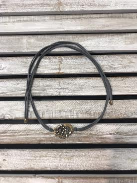 Gray Wrap Choker with Beaded Middle