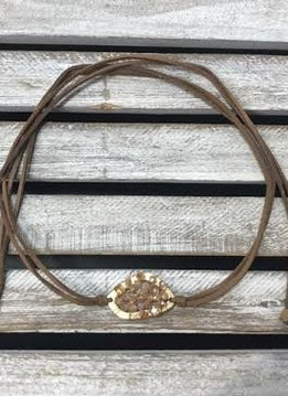 Tan Wrap Choker with Beaded Middle
