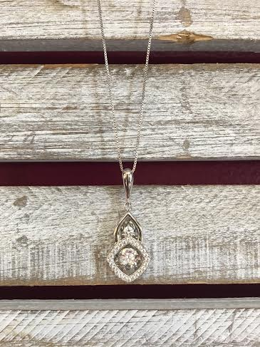 """Cubic Zirconia """"Dancing Diamonds"""" Drop Square Pendant and Sterling Silver Necklace"""