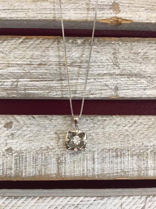 "Cubic Zirconia ""Dancing Diamonds"" Square Pendant and Sterling Silver Necklace"