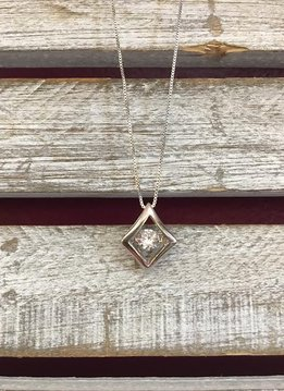 """Cubic Zirconia """"Dancing Diamonds"""" Diamond Shaped Pendant and Sterling Silver Necklace"""