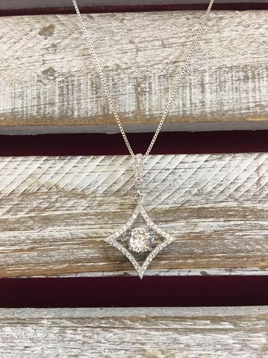 "Cubic Zirconia ""Dancing Diamonds"" Diamond Shaped Pendant and Sterling Silver Necklace"