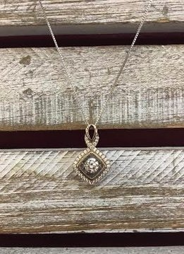 """Cubic Zirconia """"Dancing Diamonds"""" Infinity Square Pendant and Sterling Silver Necklace"""