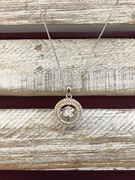 """Cubic Zirconia """"Dancing Diamonds"""" Round Pendant and Sterling Silver Necklace"""